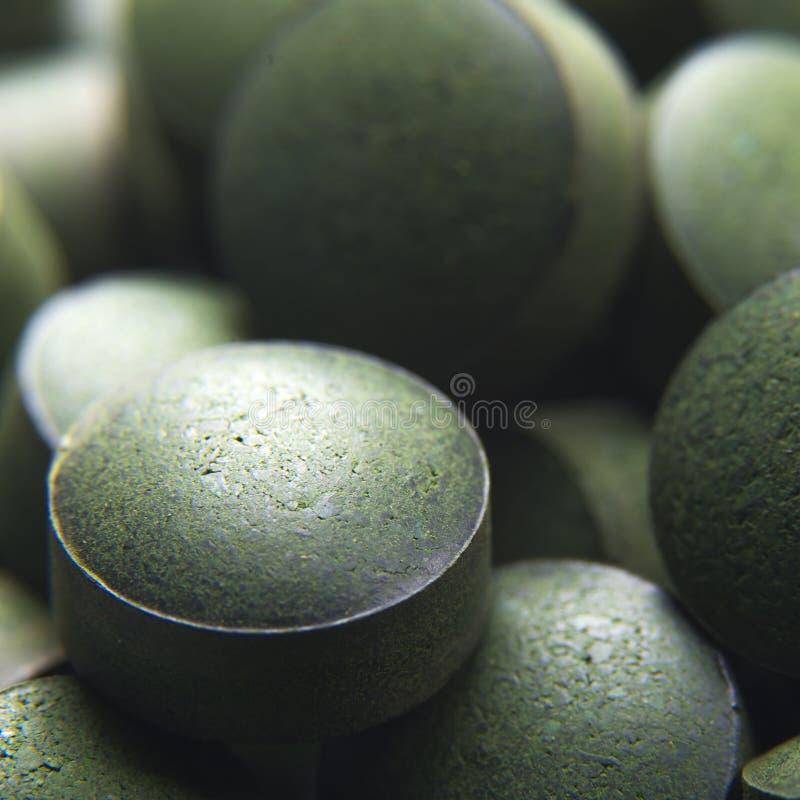 Nutrición y suplementos dietéticos Tablillas de Spirulina Vegano Prot imágenes de archivo libres de regalías