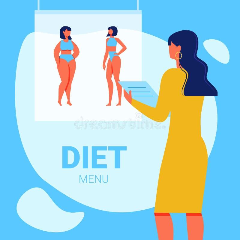 Nutricionista da mulher com bloco de notas à disposição Menu da dieta ilustração do vetor