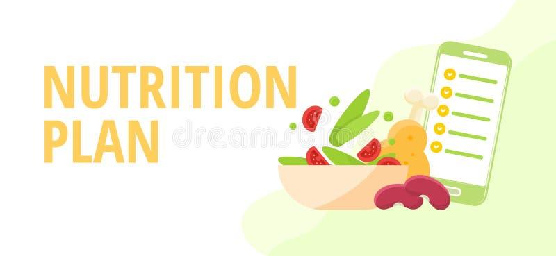 Nutricionistas do conceito da dieta e da nutrição que planeiam uma dieta usando um alimento ilustração stock