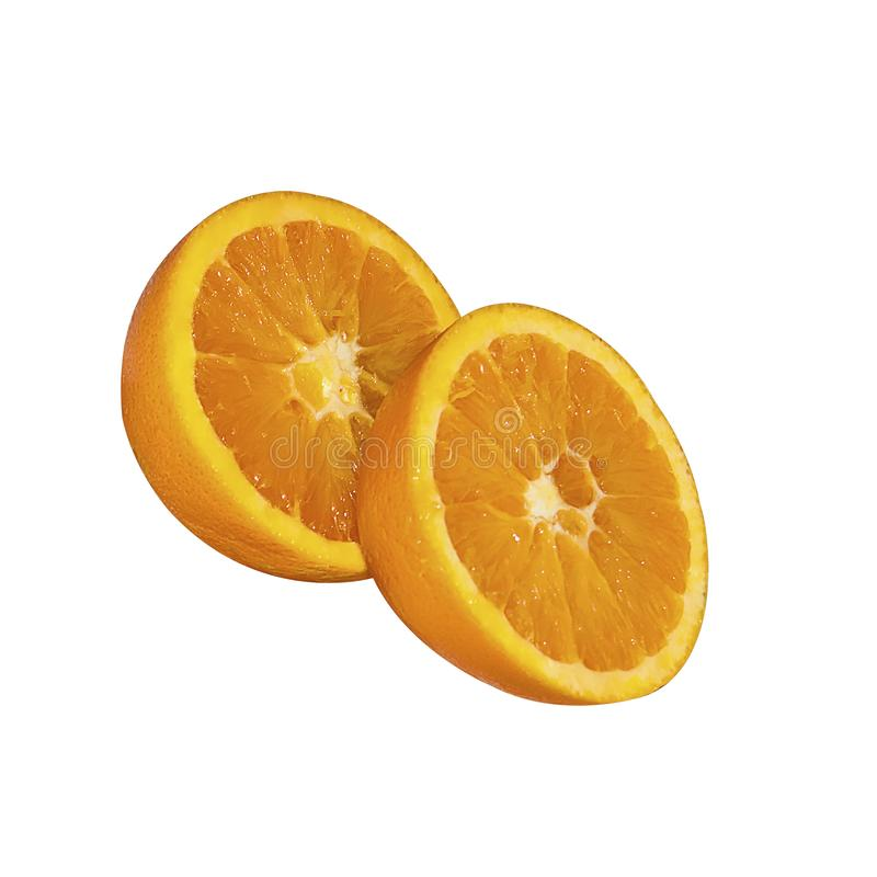 Nutricious snack of two halves of a sliced orange royalty free stock image