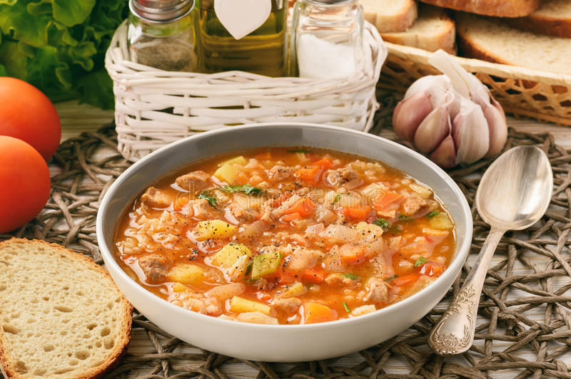 Nutrient soup with meat, rice and vegetables - mastava uzbek kitchen. royalty free stock images