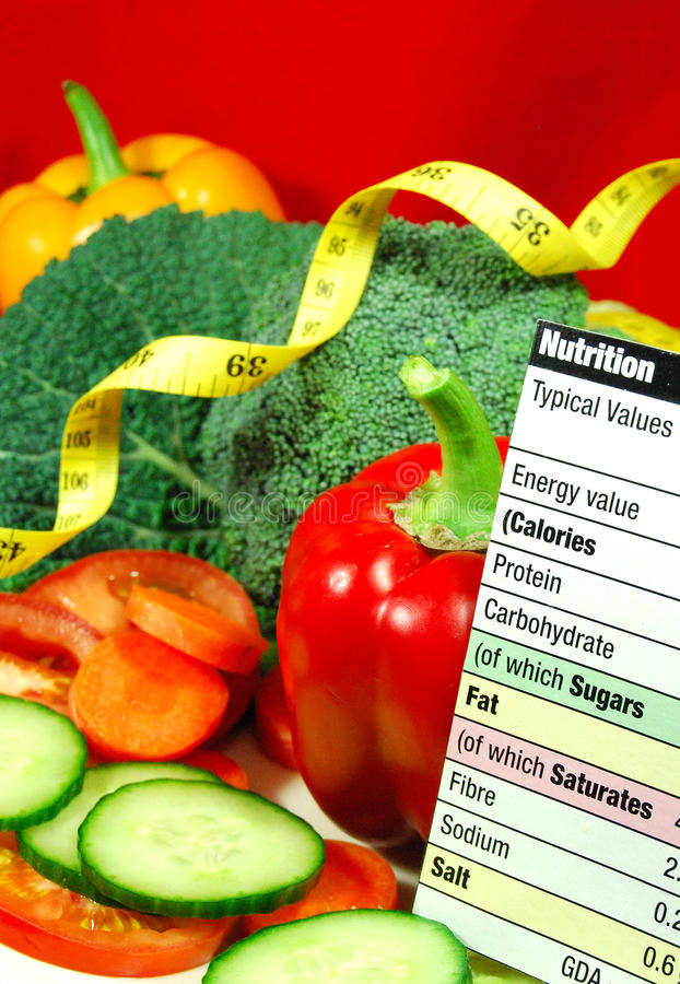 Nutrition. Vegetarian nutrition concept with fresh vegetables, measuring tape and nutrition facts royalty free stock photos
