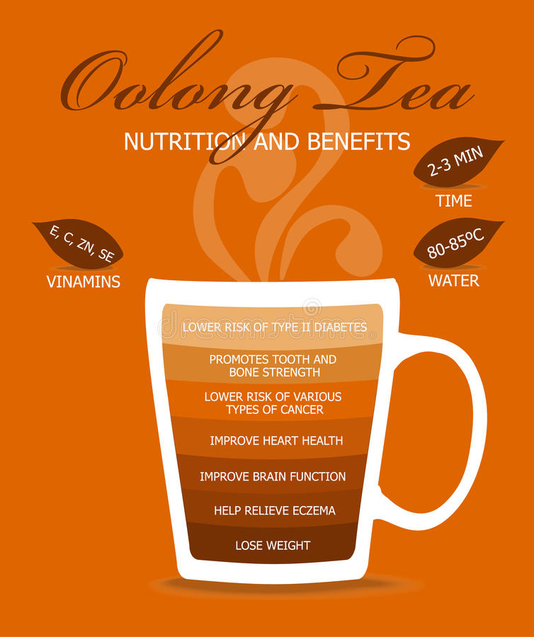 Nutrition and Benefits Oolong Tea. royalty free illustration