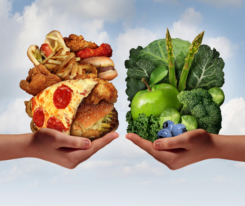 Nutrition Choice. And diet decision concept and eating choices dilemma between healthy good fresh fruit and vegetables or greasy cholesterol rich fast food with stock illustration
