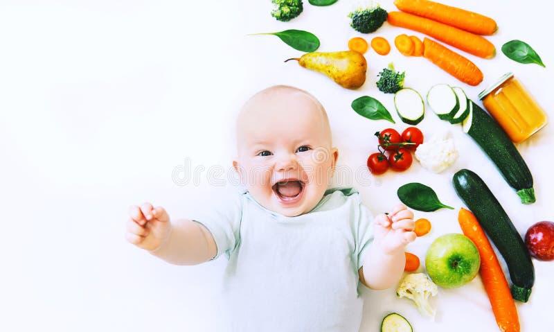 Nutrition de l'enfant saine de bébé, fond de nourriture, vue supérieure photos stock