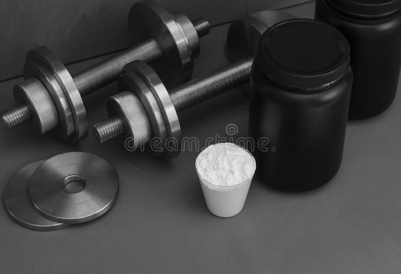 Nutrition de sports avec des haltères sur un fond gris photographie stock libre de droits