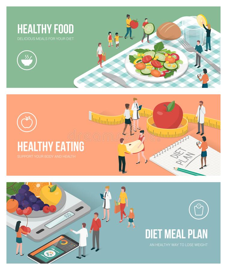 Nutrition, diet and healthy lifestyle stock illustration