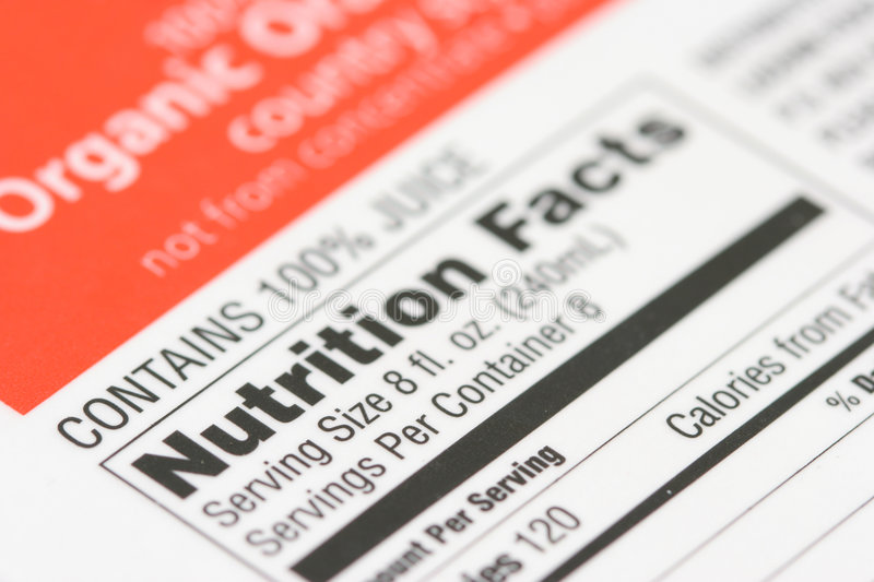 Nutrition facts from a box of stock image