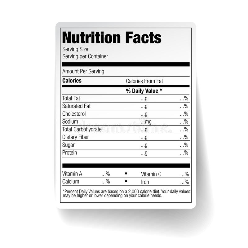 Free Nutrition Facts Food Label Royalty Free Stock Images - 38782439