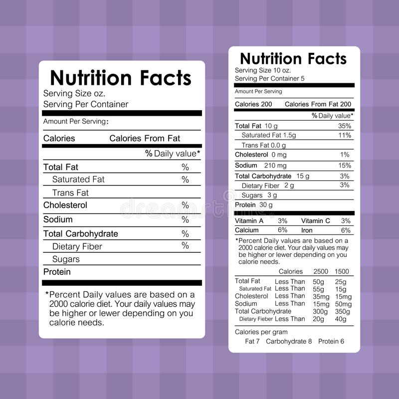 Nutrition facts food labels information healthy royalty free illustration