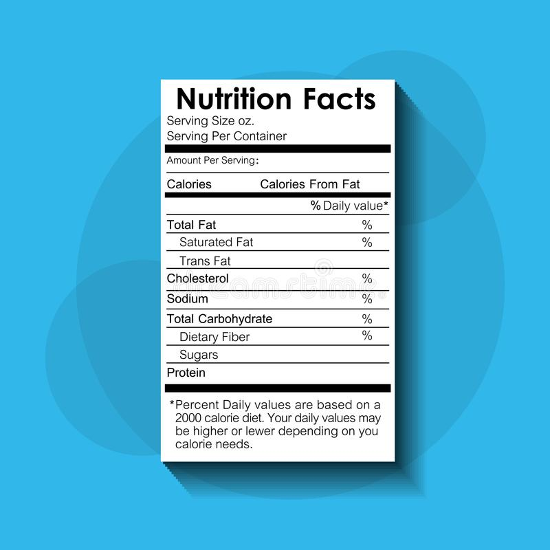 Nutrition facts food recommended standard label. Vector illustration royalty free illustration