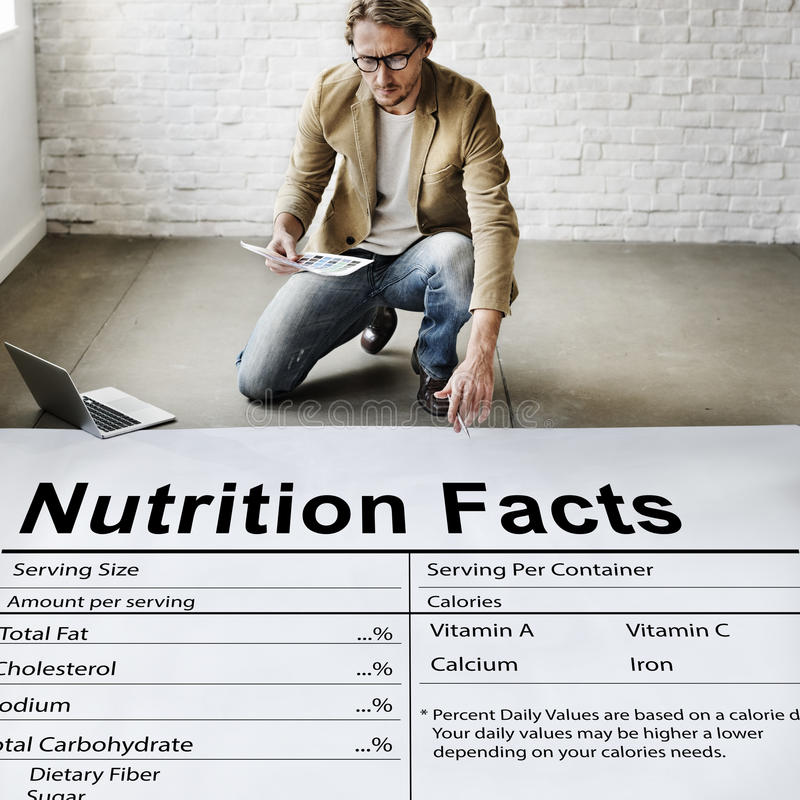 Nutrition Facts Health Medicine Eating Food Diet Concept royalty free stock images