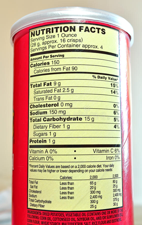 Potato chips nutrition facts royalty free stock photography