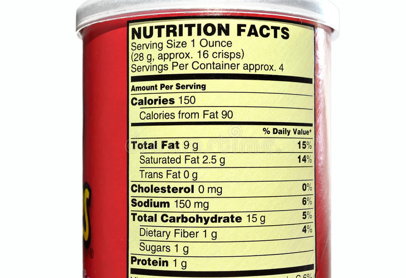 Potato chips nutrition facts. Nutrition facts or nutrition label showing the nutritional values of a brand of potato chips stock images