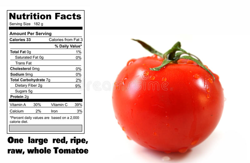 Nutrition Facts Of Tomatoe Stock Images