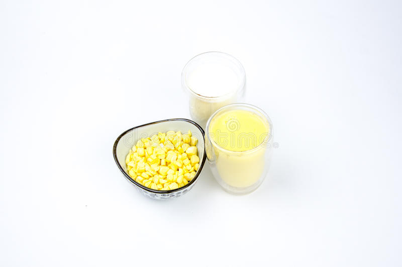 Nutrition food: milk,Corn juice and corn raw m royalty free stock image