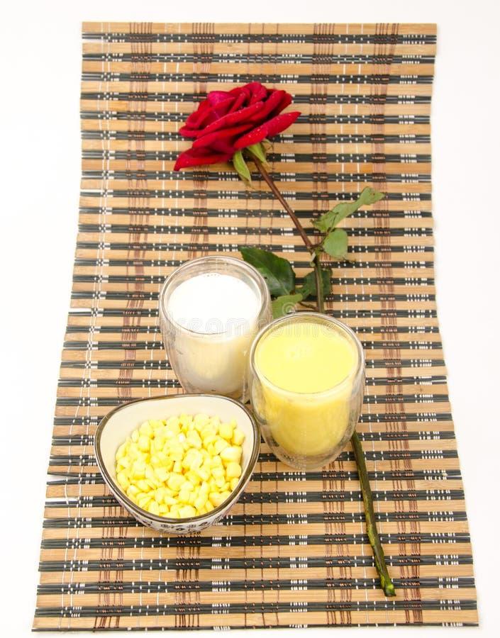 Nutrition food: milk,Corn juice and corn raw m stock photos