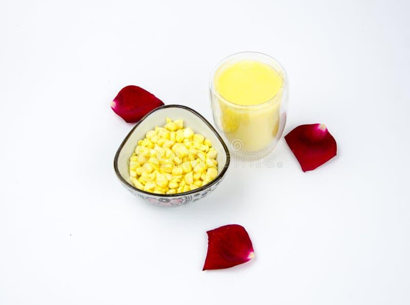 Nutrition food:Corn juice and corn raw m stock photo