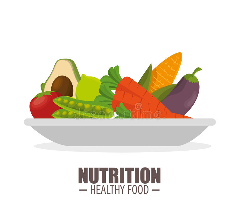 nutrition healthy food jflatcy and tasty vegetables over plate stock illustration