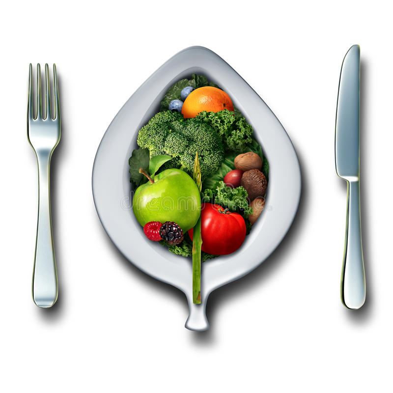 Nutrition Healthy Lifestyle. Concept as a 3D plate fork and knife with a group of vegetables fruit berries and nuts as a detox healthy antioxidant food lunch or royalty free illustration