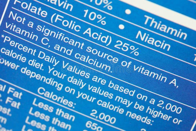 Nutrition Label Stock Photos