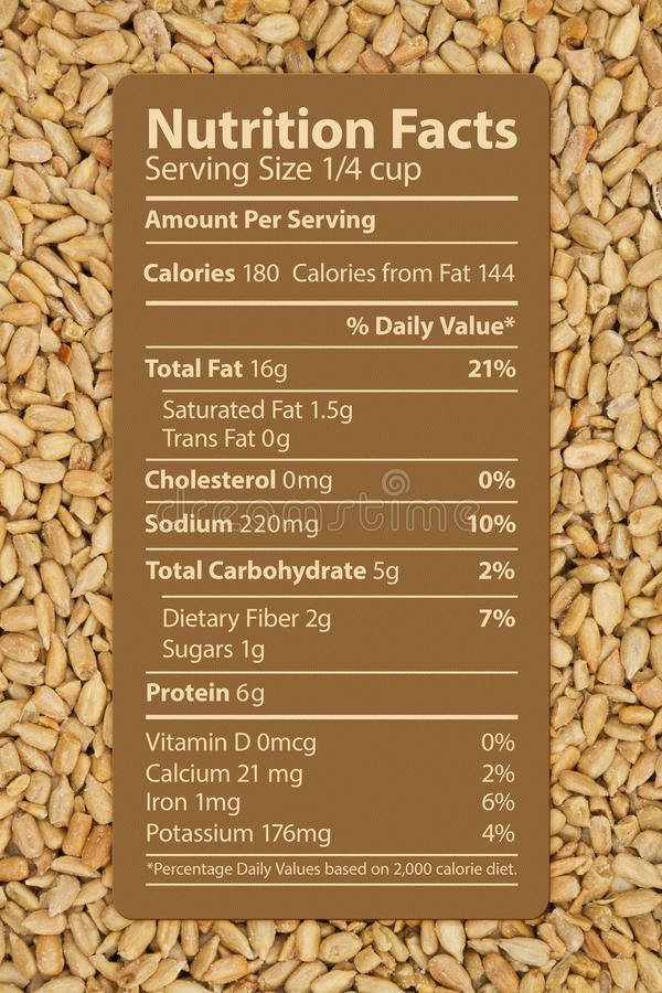 The nutrition label of healthy sunflower seeds royalty free stock photography