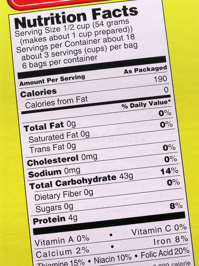 Nutrition label on yellow stock image