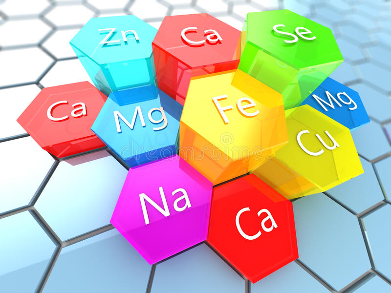 Nutrition minerals. Abstract 3d illustration of nutrition minerals labels over colorful hexagons stock illustration
