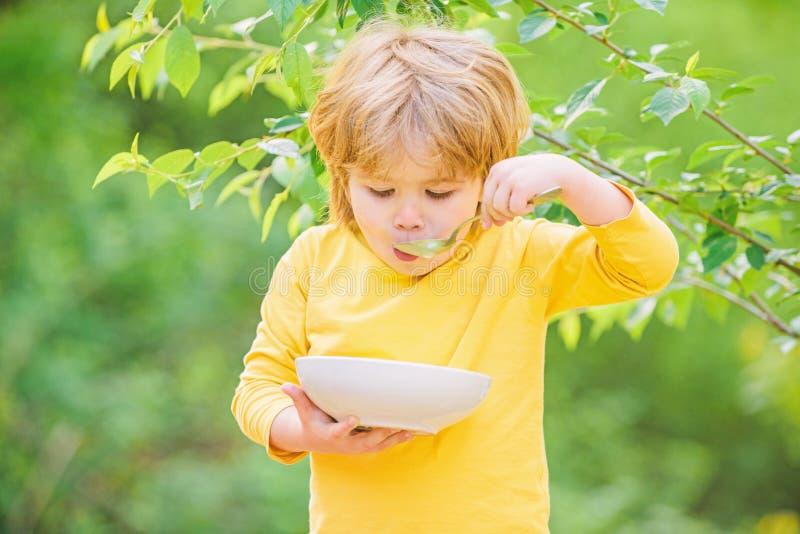 Nutrition pour des enfants Peu gar?on d'enfant en bas ?ge mangent du gruau dehors Avoir le grand app?tit Nutrition organique Sain image libre de droits