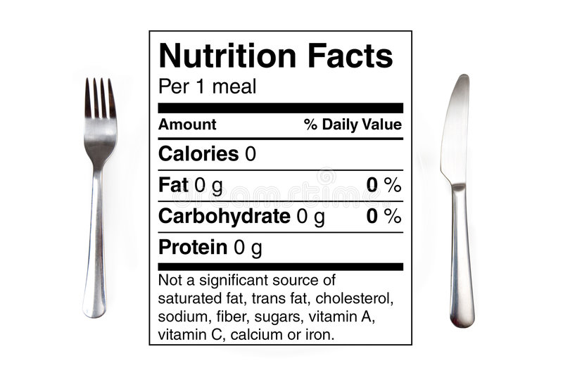 Nutrition Table 0 calorie meal. Dinner setting with 0 calories nutrition label instead of a plate. Concept for dieting, nutrition, anorexia royalty free stock images