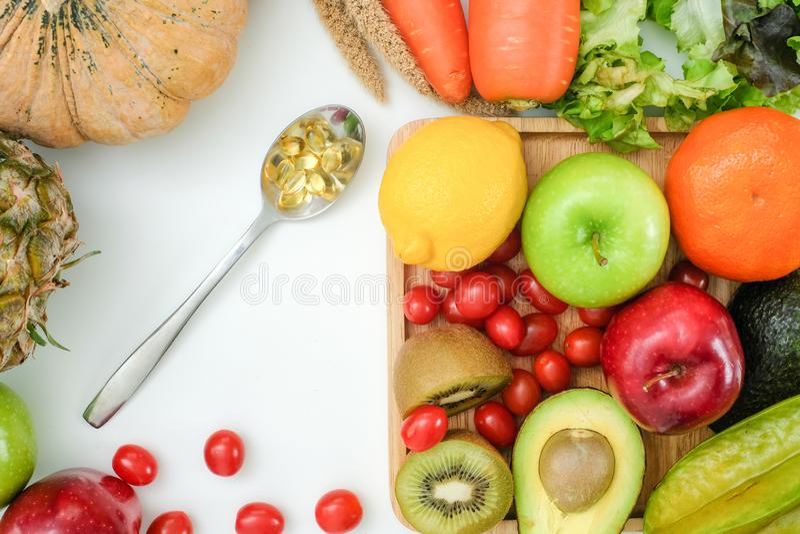 Nutrition végétale saine et médicament de régime de régime Ketogenic sain de bien-être photos libres de droits