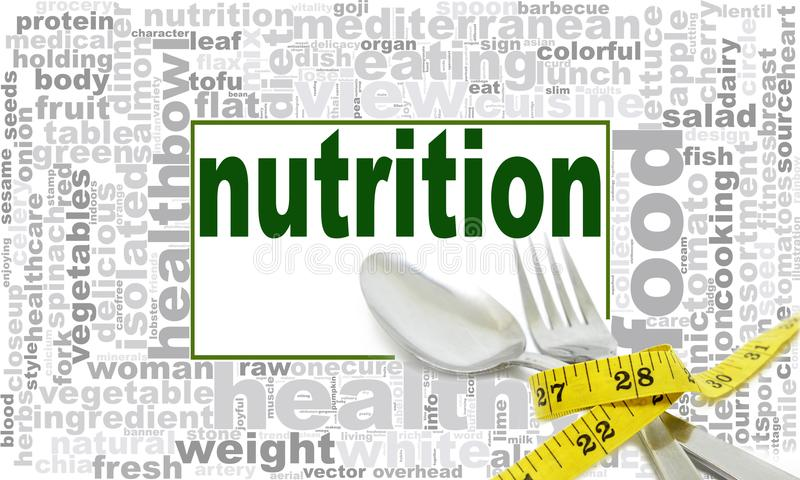 Nutrition word cloud design royalty free illustration