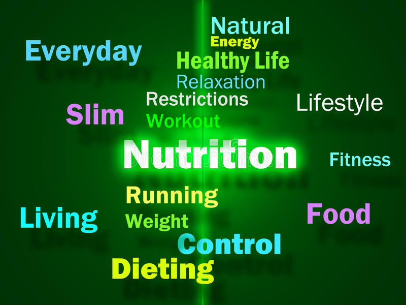 Nutrition Words Shows Healthy Food Vitamins Nutrients And Nutritional. Nutrition Words Showing Healthy Food Vitamins Nutrients And Nutritional vector illustration