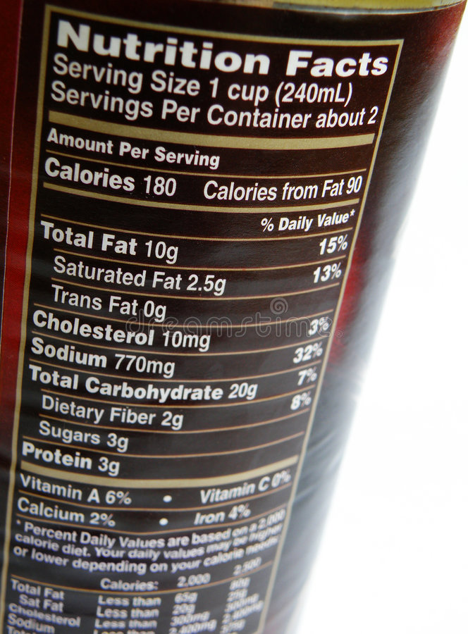 Nutritional label on can royalty free stock photos