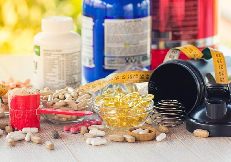 Nutritional supplements stock photo
