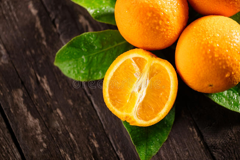 Nutritional Value of orange. orange or citrus. On wooden background stock image
