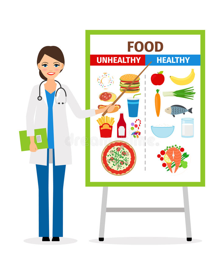 Nutritionist with diet food poster. Nutritionist or dietician counselor doctor with diet and unhealthy food poster vector illustration stock illustration
