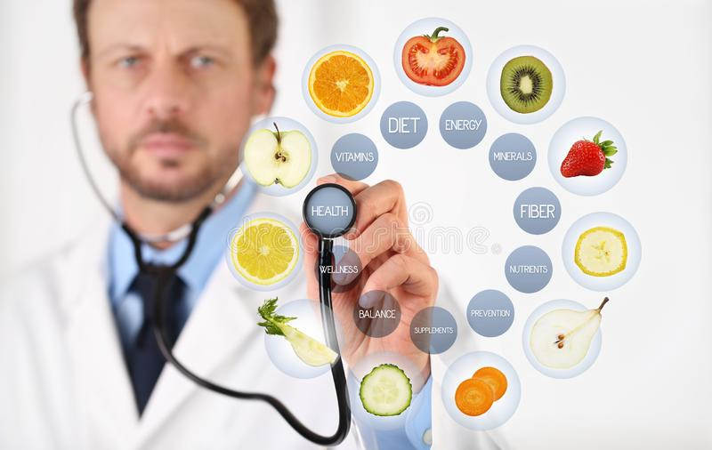Nutritionist Doctor hand with a stethoscope touch screen with blue medical symbols, fruits and vegetables icons, healthy food diet. Concept royalty free illustration