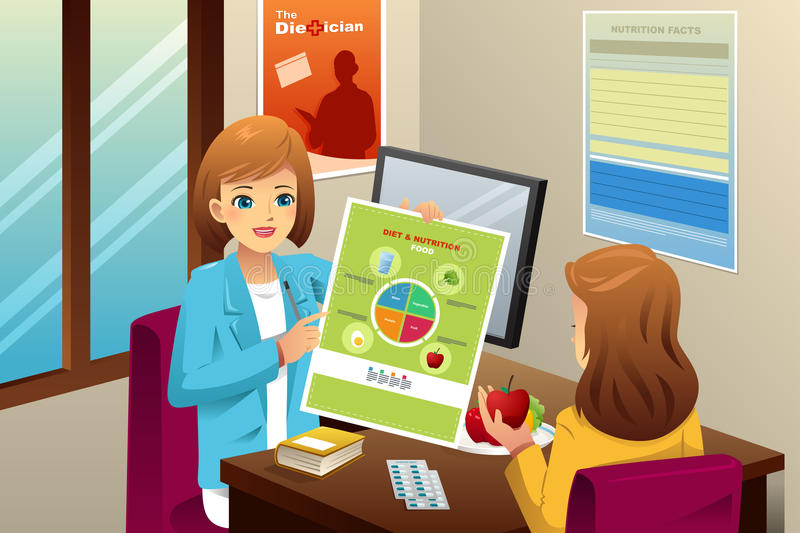 Nutritionist explaining about diet. A vector illustration of nutritionist explaining about diet to an overweight woman stock illustration