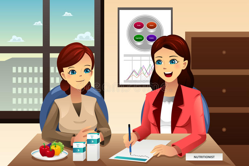 Nutritionist explaining about diet. A vector illustration of nutritionist explaining about diet to an overweight woman vector illustration
