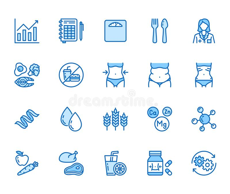 Nutritionist flat line icons set. Diet food, nutritions - protein, fat, carbohydrate, fit body vector illustrations. Outline pictogram for overweight treatment vector illustration