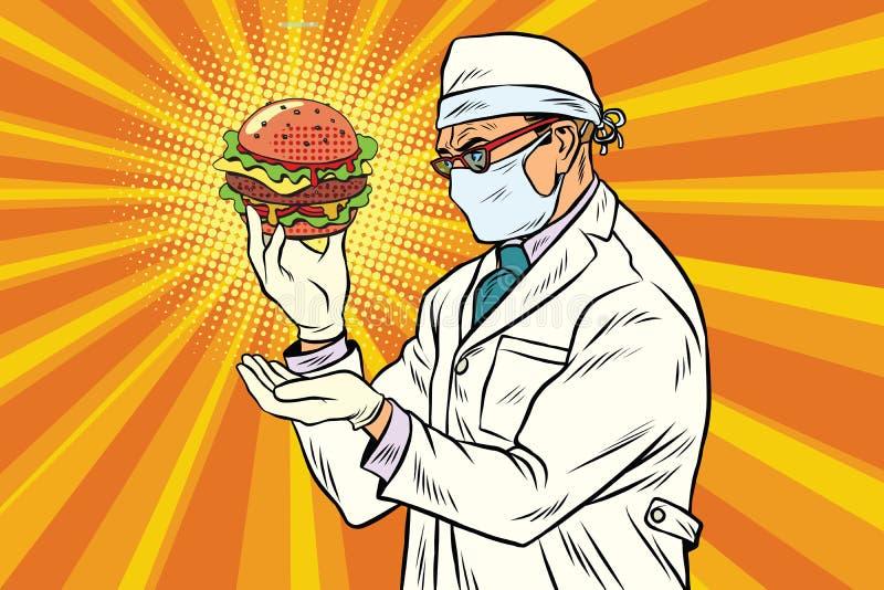 Nutritionniste de scientifique et aliments de préparation rapide d'hamburger illustration libre de droits
