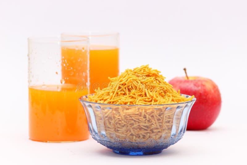 Nutritious breakfast, apple and fruit juice stock photos