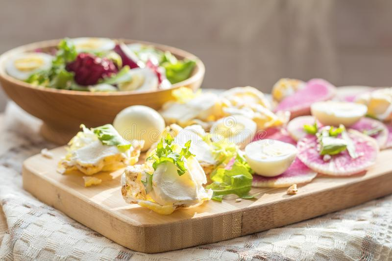 Nutritious cereal breads with cream cheese and salad. royalty free stock images
