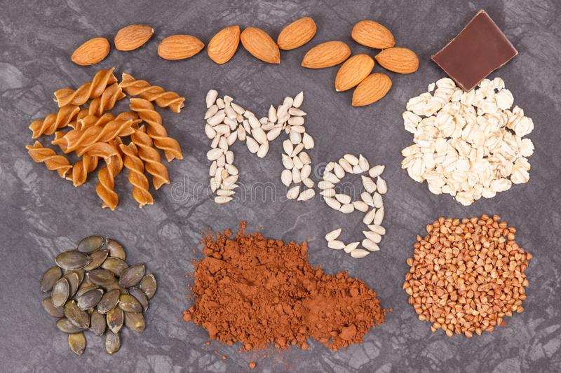 Nutritious eating containing magnesium. Healthy nutrition as source vitamins, minerals and fiber. Nutritious eating containing magnesium. Healthy nutrition as royalty free stock photos
