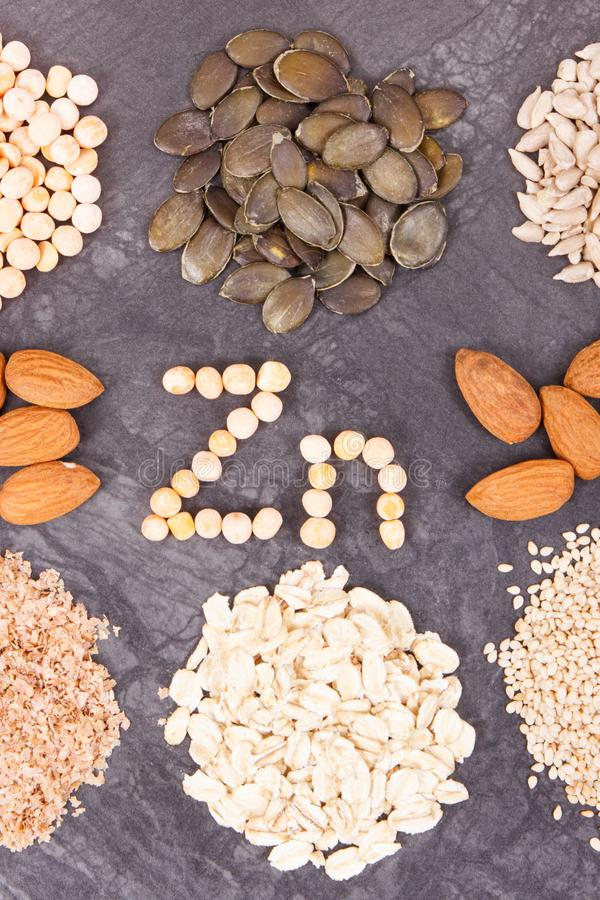 Nutritious eating containing zinc. Healthy nutrition as source vitamins, minerals and fiber. Nutritious eating containing zinc. Healthy nutrition as source stock image
