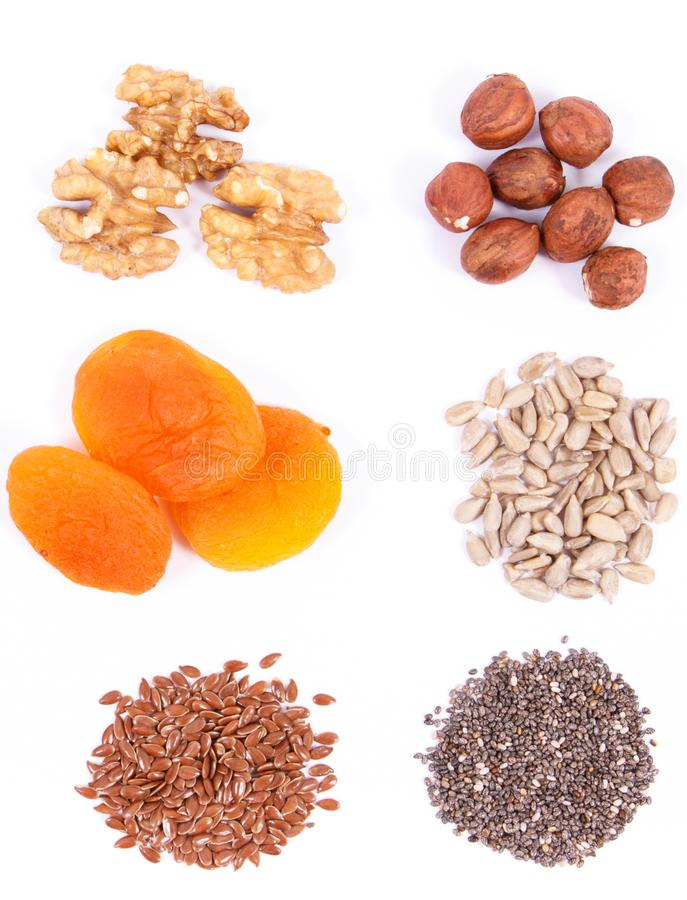 Nutritious food containing iron, acids, vitamins, minerals and fiber, healthy nutrition stock image