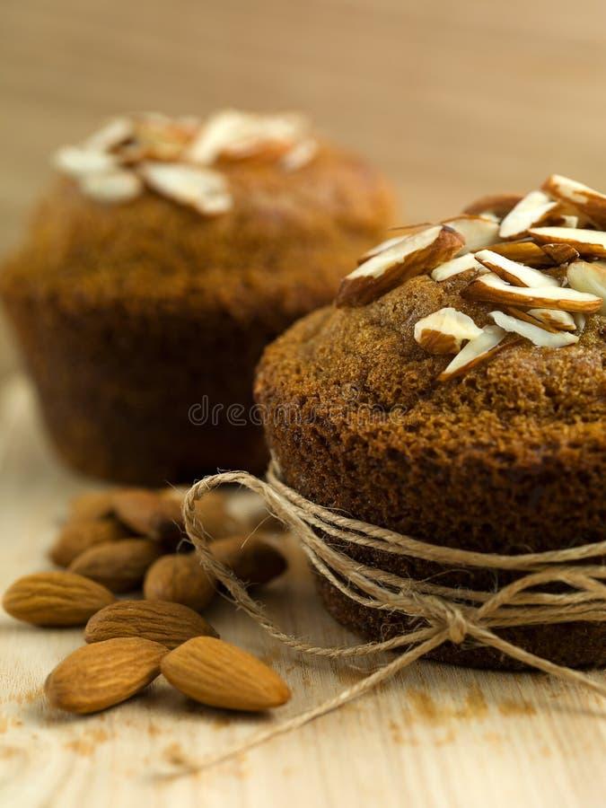 Nutritious mandelmuffiner för frukost fotografering för bildbyråer