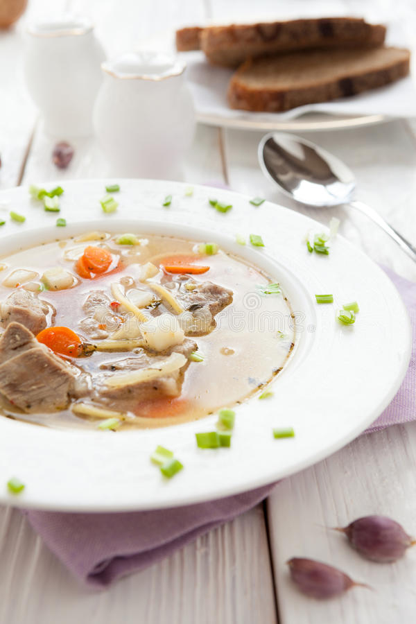Nutritious meatsoup med pasta och morötter royaltyfria foton