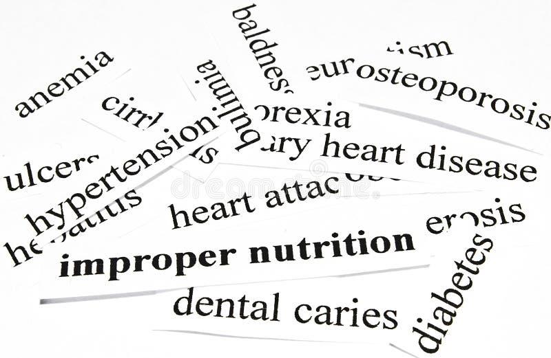 Nutrizione impropria. Concetto di sanità delle malattie causate da nutrizione non sana fotografie stock